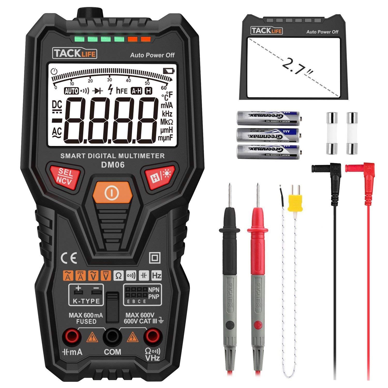 Tacklife DM06 Multimetro Digitale Intelligente con Barra Analogica,6000 RMS valido. Misurazione Automaticamente per Tensione e Corrente AC/DC, Capacità