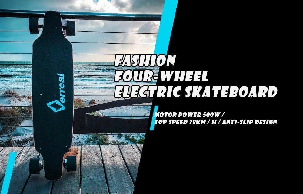Skateboard elettrico con motore a doppio mozzo Alfawise Verreal VRLF1001