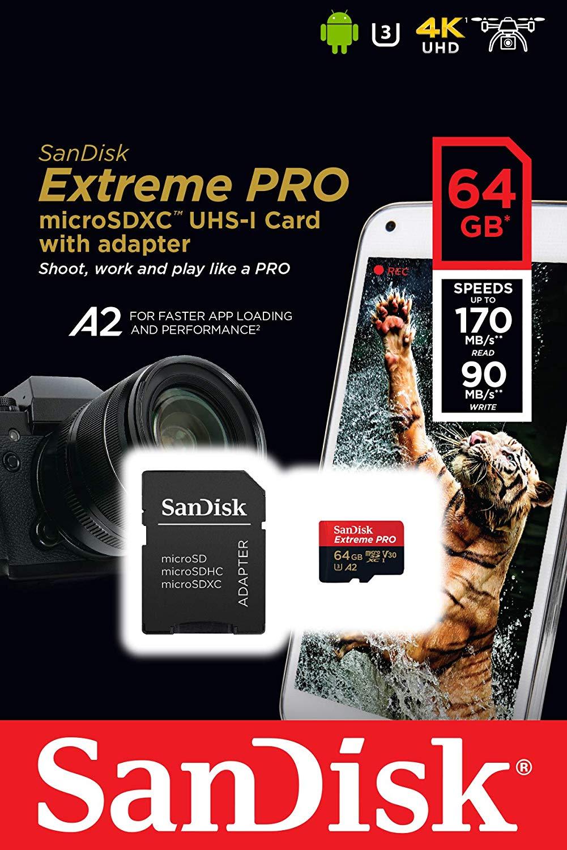 SanDisk Extreme Pro Scheda di Memoria microSDXC da 64