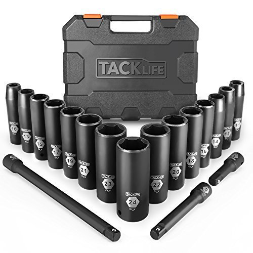 TACKLIFE 18Pcs Aggiornati (Include Set di Prolunghe 3Pcs) Set Bussole a Impatto Profondo da 1/2 di Pollice, Prese, Metriche, 6 Punti, 10-24mm, 15Pcs - HIS1A