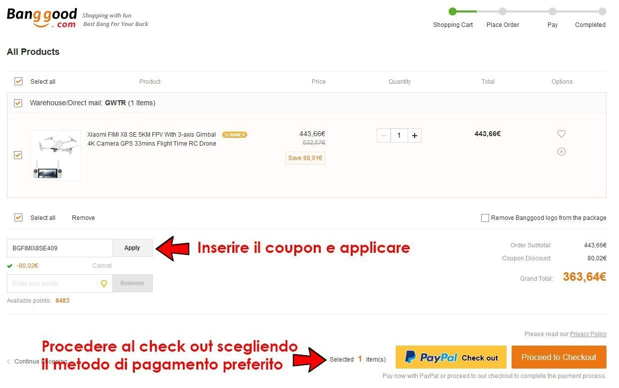 come utilizzare i coupon su Banggood