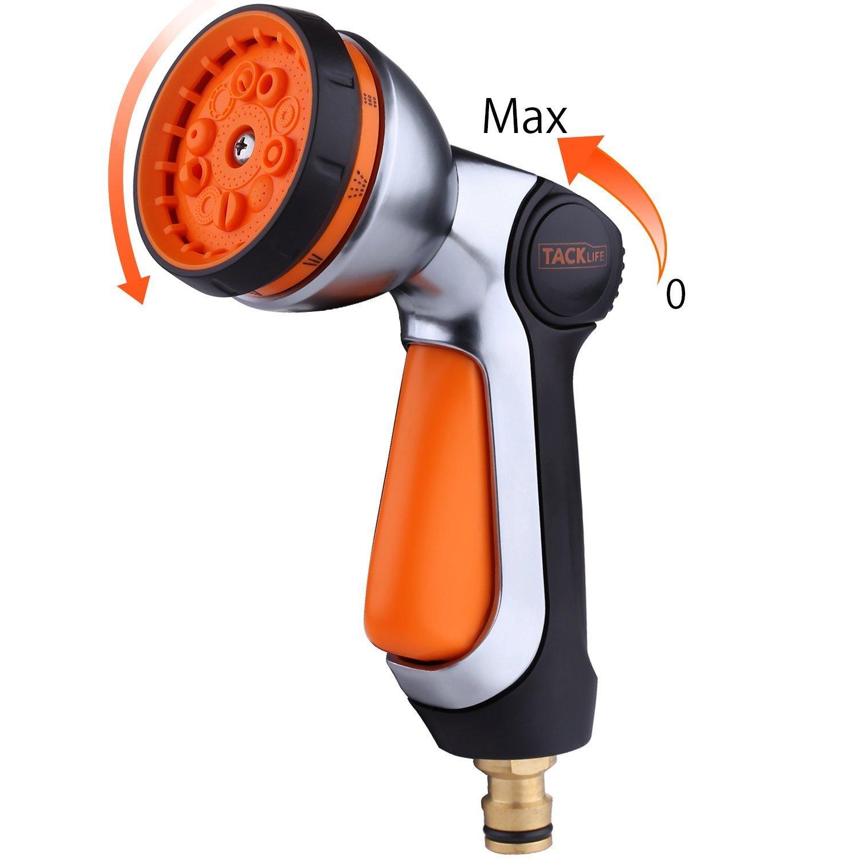 TACKLIFE Pistola da giardino, funzionamento con una sola mano, 10 Modalità di Spruzzatura, lega di alluminio, flusso dell'acqua di controllo del pollice, autolavaggio, animali e irrigazione - GSG1A