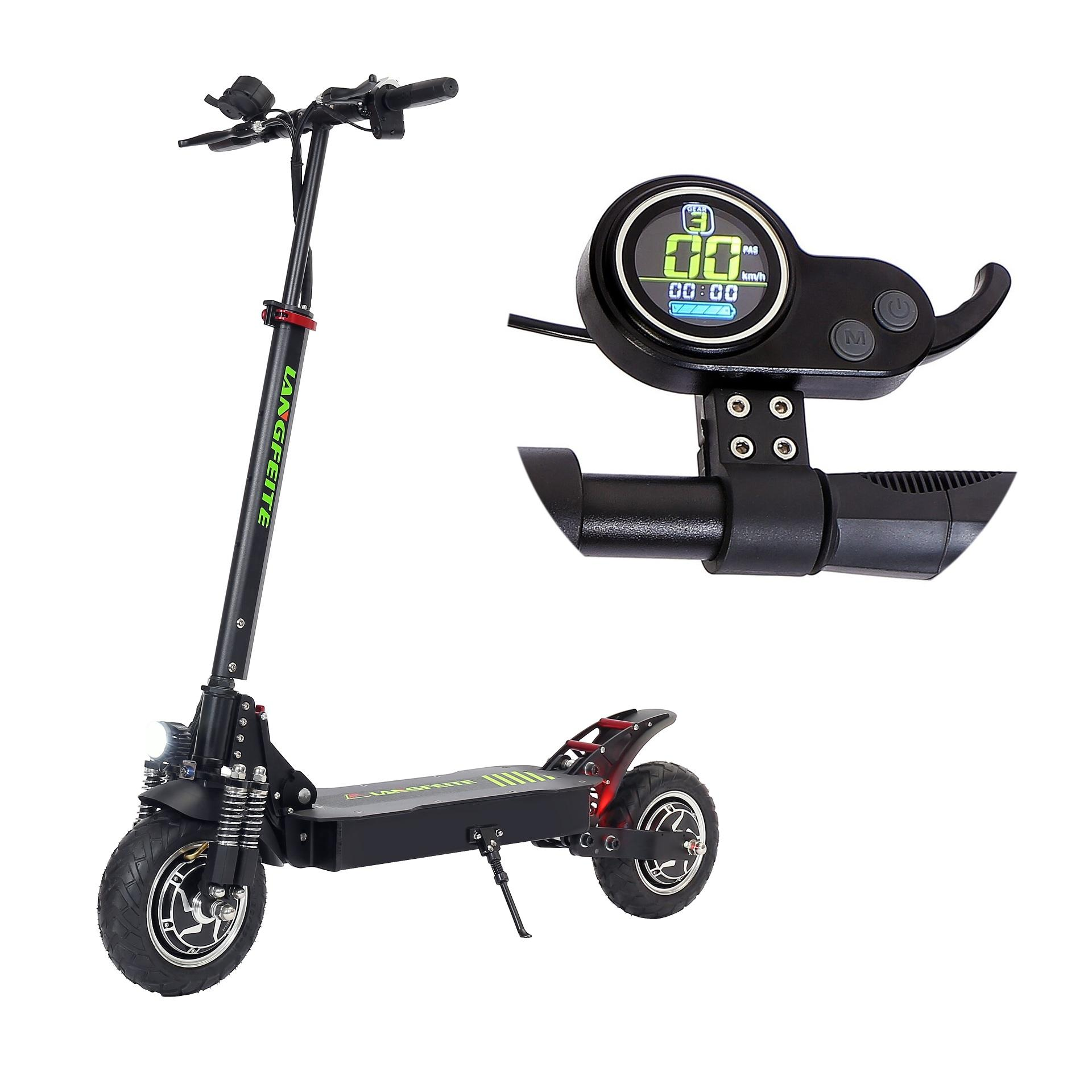 LANGFEITE L8S 2019 Version 20.8Ah 48.1V 800W*2 Dual Motor Folding Electric Scooter Color Display DC Brushless Motor 45km/h Top Speed 55km Range EU Plug - Black