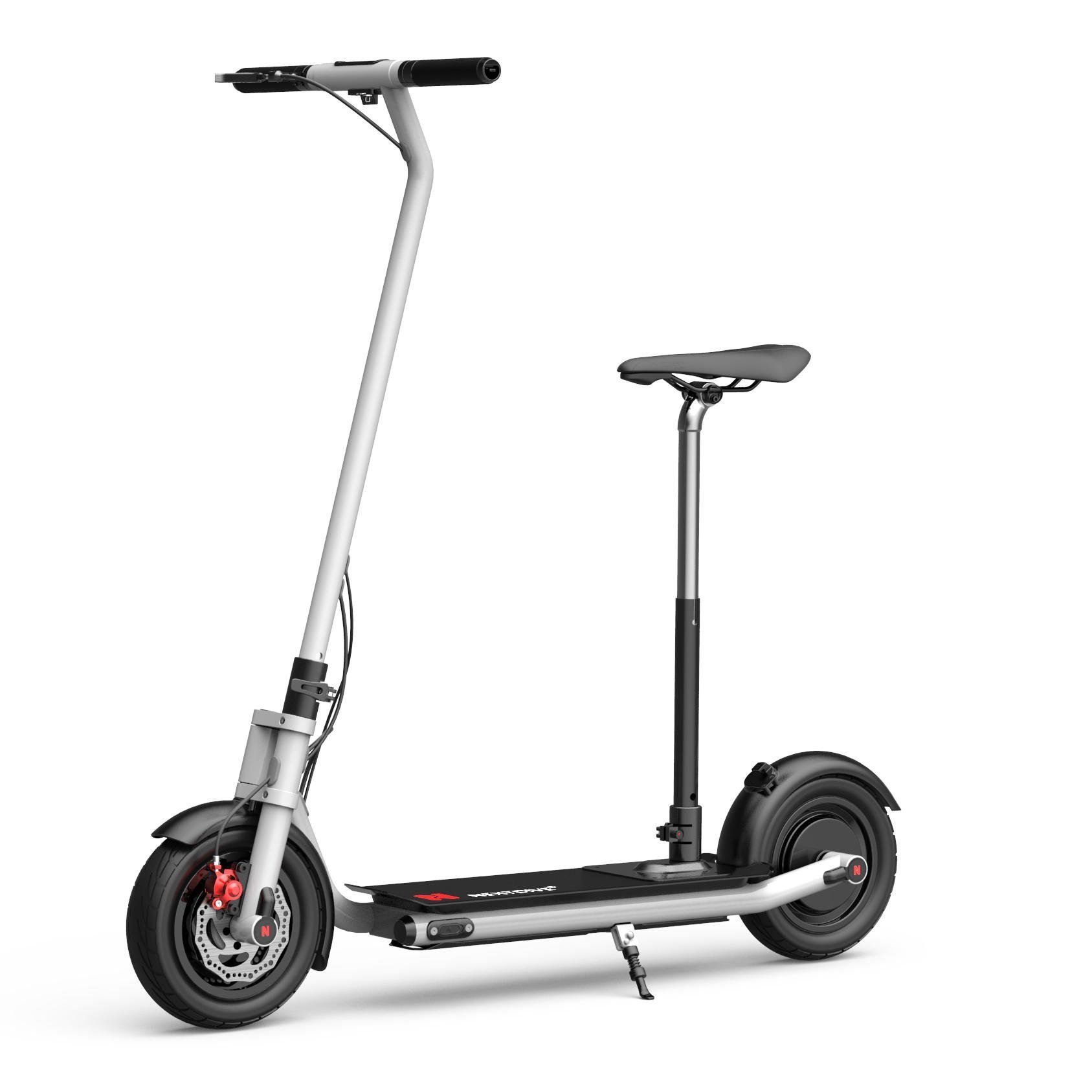 NEXTDRIVE N-7 300W 36V 10.4Ah Foldable Electric Scooter With Saddle For Adults/Kids 32 Km/h Max Speed 18-36 Km Mileage - White