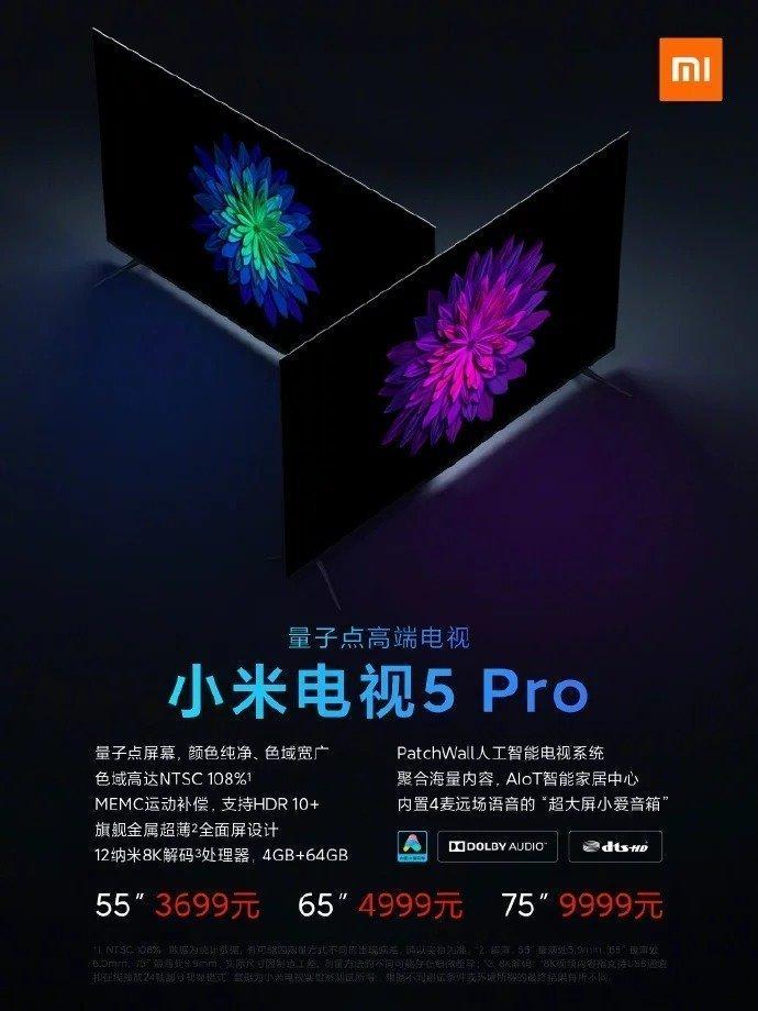 Xiaomi Mi Tv 5 e 5 Pro