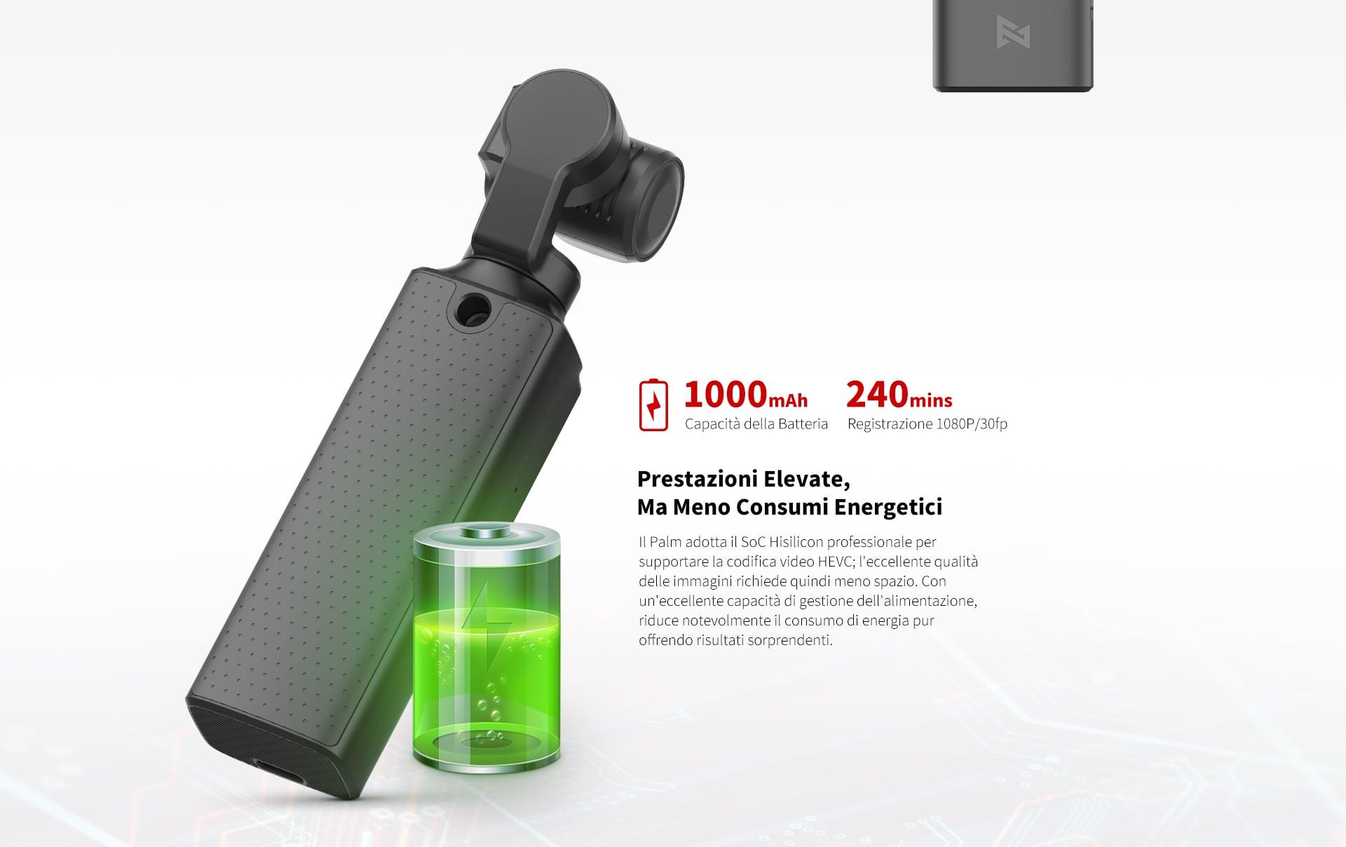 Xiaomi FIMI PALM - Grande batteria per un'autonomia di tutto rispetto