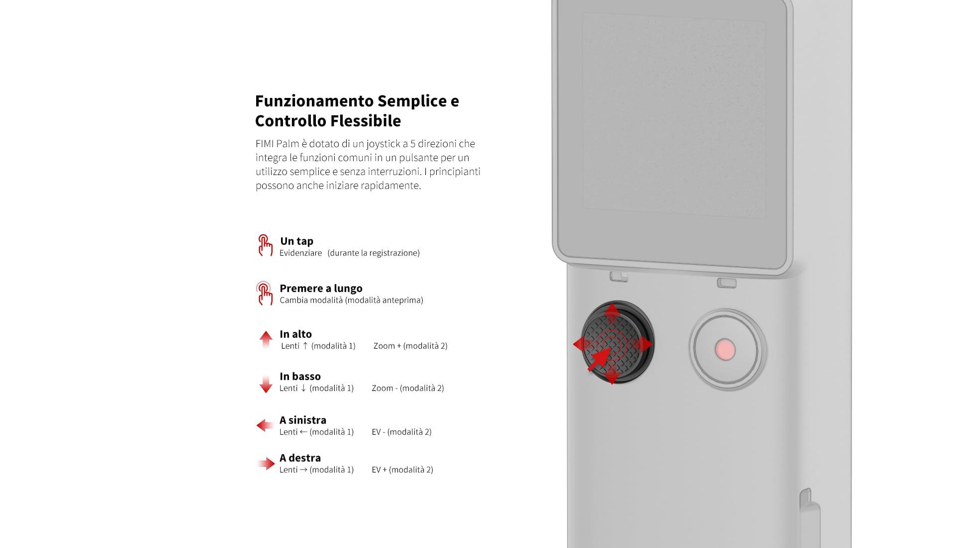 Xiaomi Fimi Palm - Le funzioni principale vengono gestite tramite un comodo joystick