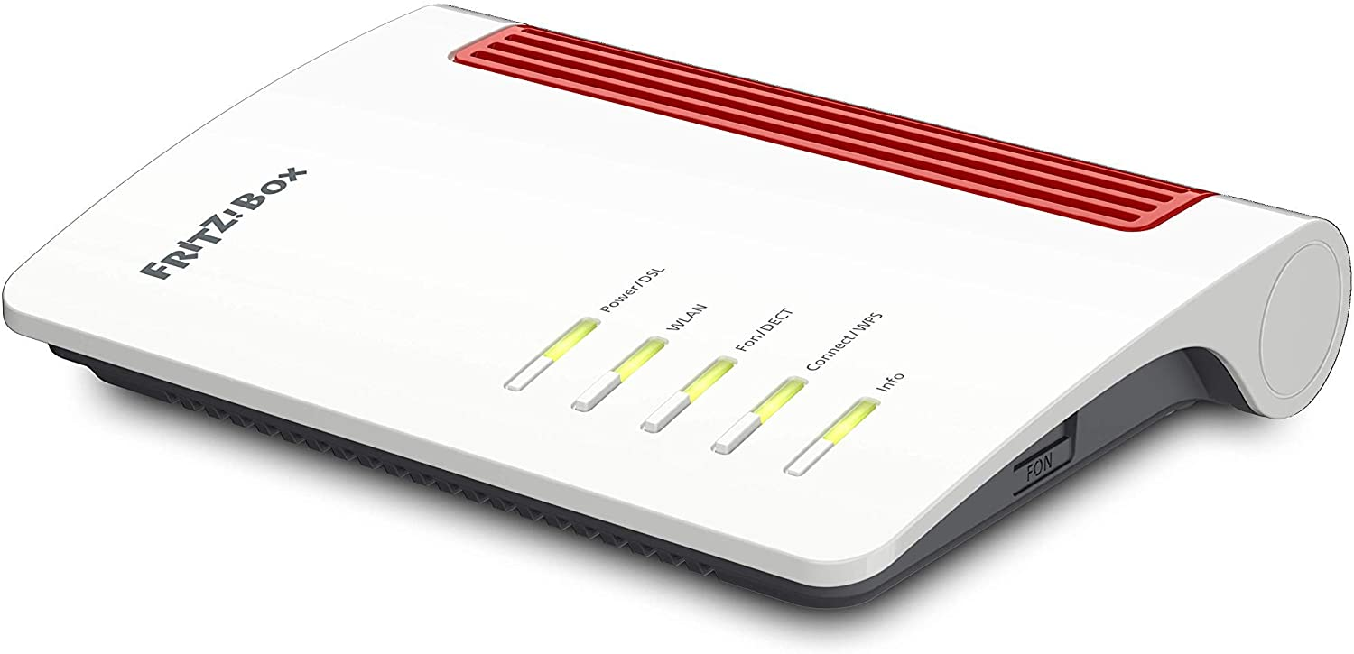 AVM FRITZ!Box 7530 International Modem Router, Wireless Veloce AC+N 1266 Mbit/s, velocità Internet fino a 300 Mbit/s, Base DECT, Media Server, interfaccia in italiano, Bianco/Rosso