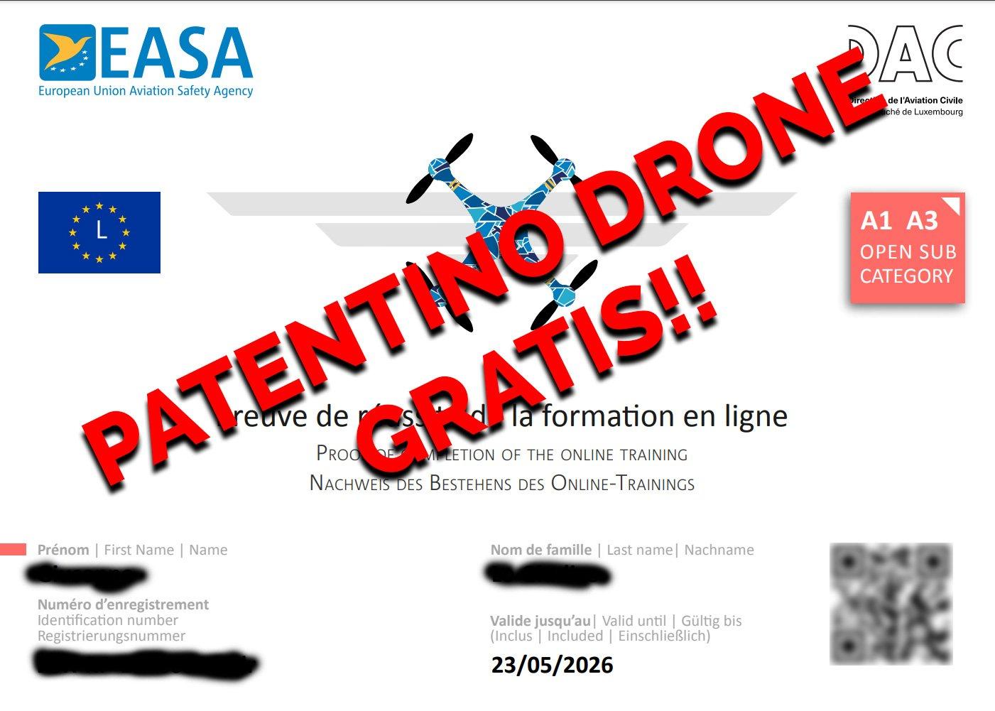 PATENTINO-DRONE-EASA-GRATIS
